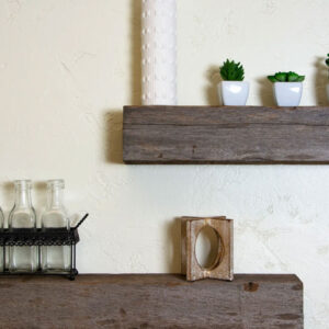 Floating Cedar Shelves Made from Reclaimed Wood - Farmhouse Fixer Upper Style with Rustic Character and countersunk Brackets