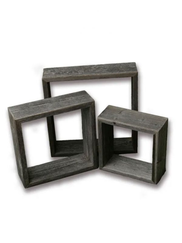 Farmhouse Style Rustic Wood Shadow Box Frames - Reclaimed Weathered Wood - Barn Wood Character (Weathered Grey, Square)